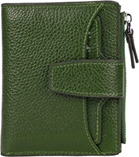 AINIMOER Women's RFID Blocking Leather Small Compact Bi-fold Zipper Pocket Wallet Card Case Purse(Lichee Green)