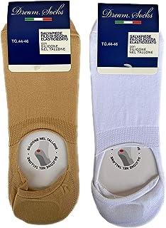 DREAM SOCKS, 6 pares de calcetines invisibles con silicona en el talón, calcetines tobilleros transpirables invisibles de algodón hilo de Escocia elástico