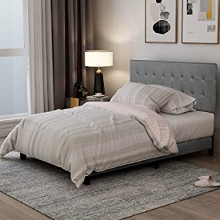 MIERES Upholstered Platform, Deluxe Linen Tufted Bed Frame with Solid Wood Slats Support and Square Stitched Headboard for Adults Teens Kids, Gray