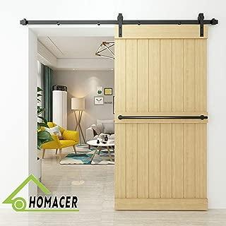 Homacer Sliding Barn Door Hardware Standard Single Door Kit, 8FT Flat Track Classic Design Roller, Black Rustic Heavy Duty Interior Exterior Use