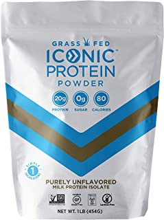 Iconic Protein Powder, Unsweetened, 1 Lb (20 Servings) | Sugar Free, Low Carb Protein Powder | 20g Grass Fed Whey Protein & Casein Protein | Lactose Free, Gluten Free, Kosher, Non-GMO | Keto Friendly