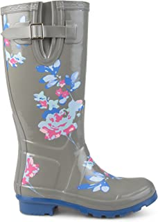 Brinley Co. Womens Mizzle Rubber Patterned Rain Boots