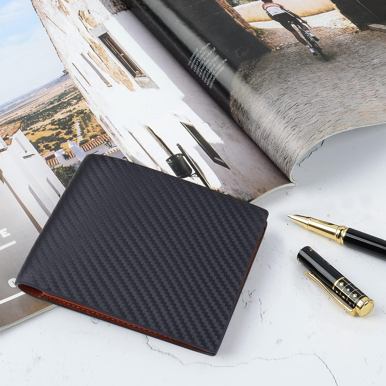 VISOUL Men's Carbon Fiber Leather Wallets Bifold with RFID Blocking, Designer Leather Wallets with 1 ID window for Men (Black+Orange)