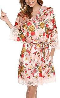 Nachthemd Pyjama Schlafanzug 3 pieces Lounge-Hosen Damen Morgenmantel Set Satin