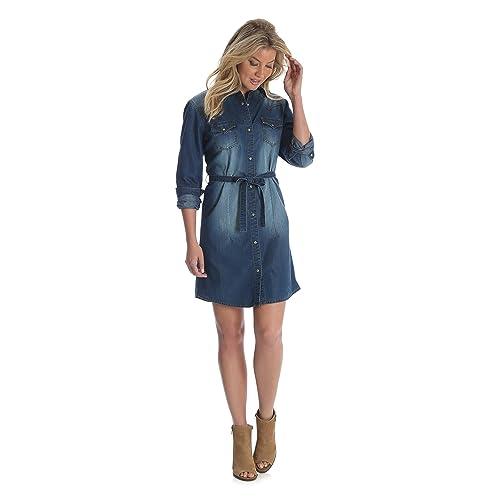 c6fe61190bbf8 Wrangler Women's Long-Sleeve Denim Shirtdress