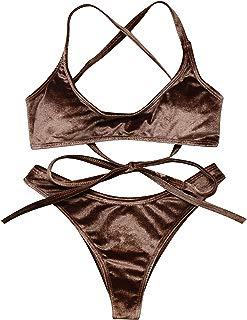 Women's Cross Back Ties Thong Bottom Velvet Bandeau Bikini Top Brazilian Bathing Suit