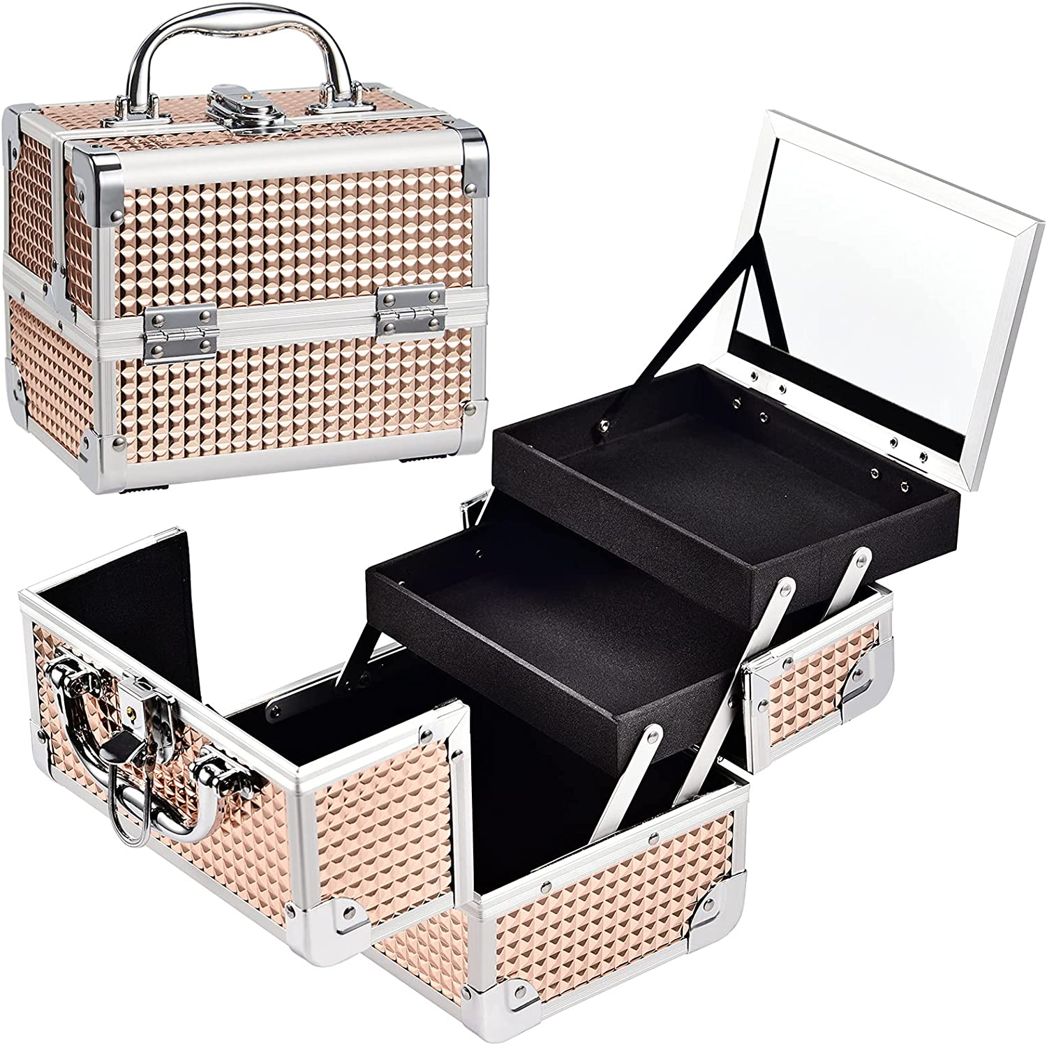 Costravio Makeup Train Case Max 85% OFF Portable Cosmetic 70% OFF Outlet Organizer Box with