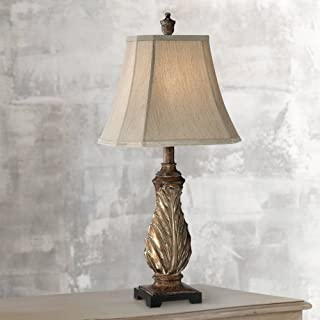 Tulip Traditional Table Lamp Aged Gold Leaf Pattern Tan Bell Shade for Living Room Family Bedroom Bedside Nightstand Office - Regency Hill