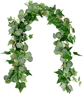 Dragang Seeded Eucalyptus Garland, 2 pieces(6Ft /piece) Blended Faux Silver Dollar Eucalyptus Garland and Artificial Vines Hanging Eucalyptus Leaves For Wedding Backdrop Arch Wall Decor Indoor Outdoor