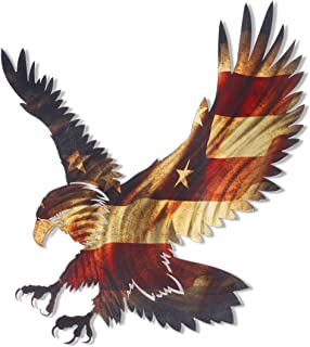 Next Innovations 3D Metal Wall Art - Bald Eagle American Flag Wall Decor - Patriotic Country Wall Art - Handmade in The USA for Use Indoors or Outdoors