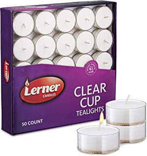 Box Of 50 Unscented White Wedding Party Tea Light Candles In Clear Cup Burns Aprox. 4.5 Hour
