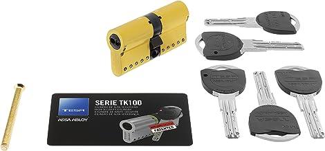Tesa Assa Abloy, TK153040L, Cilindro de Alta Seguridad, TK100, Doble Embrague, Leva Larga, 0 W, 0 V, Latonado, 30 x 40 mm