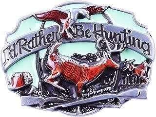 I'd rather be Hunting Deer Duck Western Cowboy Large Belt Buckle Sliver