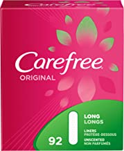 Carefree Original Thin Panty Liners, Comfortable Daily Feminine Care Protection, Long, 92 Count