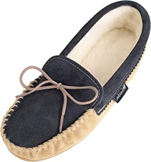 Lambland Men's Wool Lined Two Tone Moccasin Slippers Hard Sole