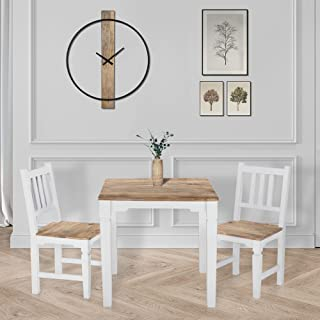 WOMO-DESIGN Table à Manger Tianjin - 80 x 80 x 76 cm - en Bois Massif de Manguier Laqué - Naturel/Blanc - Carré - Style Ca...