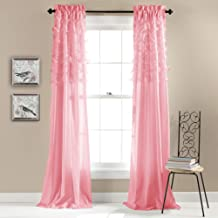 Lush Decor, Pink Avery Curtains Ruffled Shabby Chic Style Window Panel Set for Living, Dining Room, Bedroom (Pair), 84 by ...