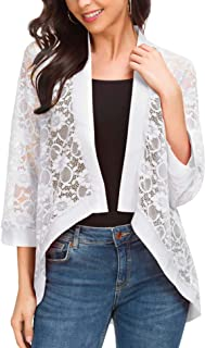 50b17e270 ROOSEY Women's Lace Cardigan Kimono Casual 3/4 Sleeve Open Front Dressy  Shrug Beach Cover