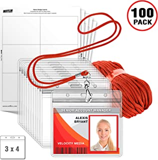 MIFFLIN Lanyard with Horizontal ID Holder + Paper Inserts 3-Piece Kit (Red, 3x4 Inch, 100 Pack)