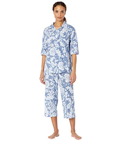 LAUREN Ralph Lauren Classic Wovens 3/4 Roll Tab Sleeve Notch Collar Capris Pajama Set (Navy Print) Women