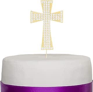 Ella Celebration Cross Cake Topper, Religious Wedding, Baptism, Christening, Dedication, First Communion, Christian Decoration (Gold)