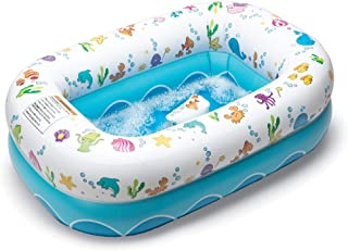 Mommy's Helper Inflatable Bathtub for Baby & Toddler; Saddle Horn Baby Bath Seat Keeps Baby from Sliding; Whimsical Ocean Design Makes Toddler Bath time Fun; Recommended Age 6 to 24 Months