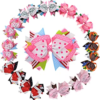 LCLHB Big Layered Fabric Ribbon Bows Alligator Hair Clip for Girls Women 12 Pack