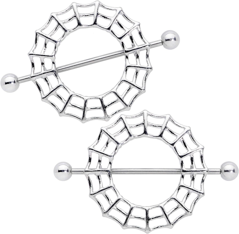 Body Candy 2Pc 14G Nipplerings Piercing Womens 316L Steel Spider Web Nipple Shield Nipple Ring Set 7/8