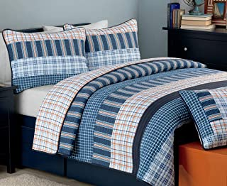 Cozy Line Home Fashions Bennett Quilt Bedding Set, Nautical Navy Orange Grid Striped Print 100% Cotton Reversible Coverlet Bedspread for Boy (Navy Orange, Queen - 3 Piece)