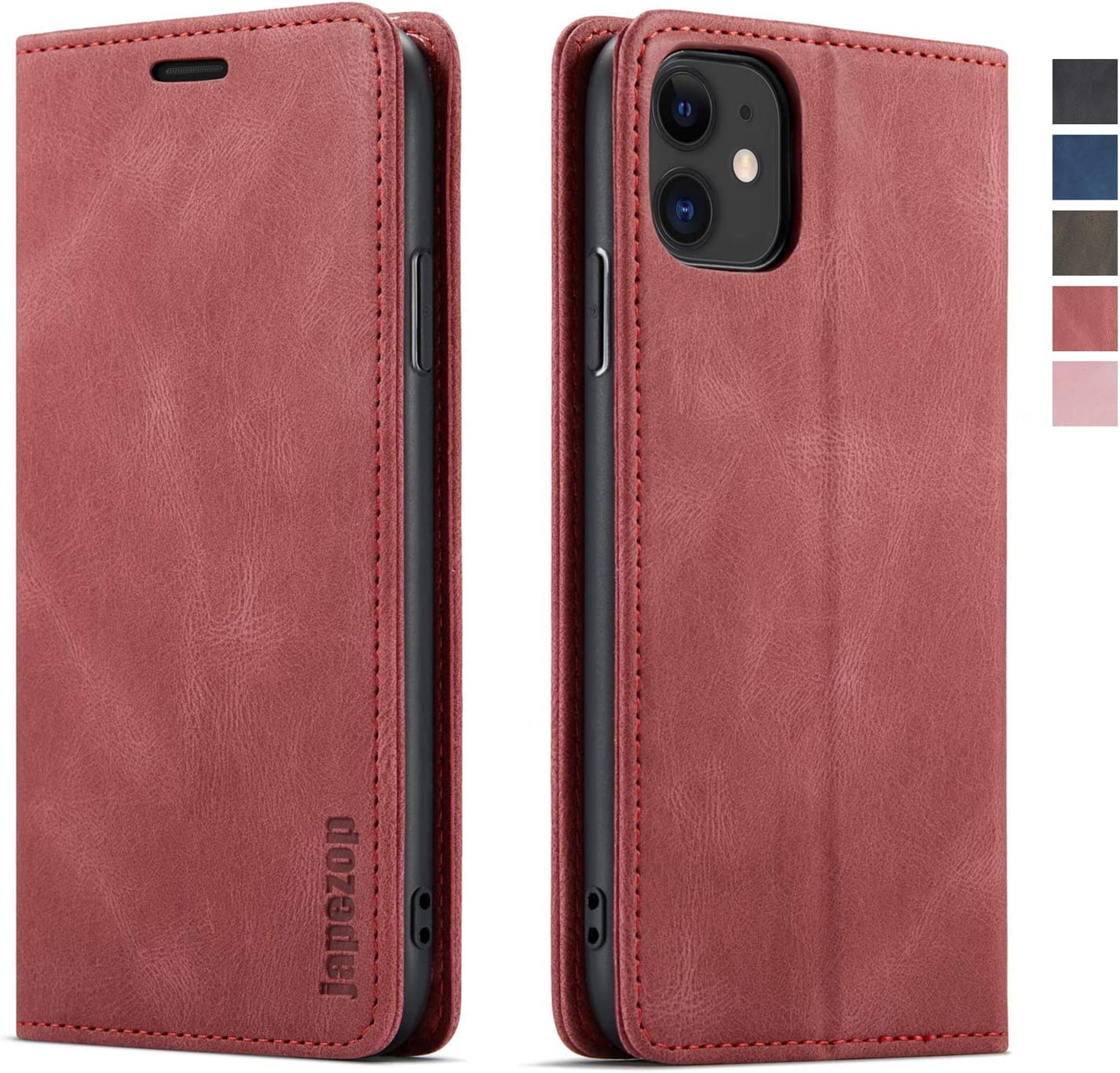 iPhone 11 Case,iPhone 11 Wallet Case for Women with[RFID Blocking] Card Holder Kickstand, Leather Flip Case Wallet for iPhone 11 6.1 inch (Wine Red)