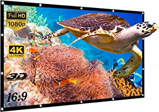 Yisiga 120 Inches Projector Screen,16:9 HD 4K Foldable Anti-Crease Portable Projector Movies Screen for Home Theater Outdo...