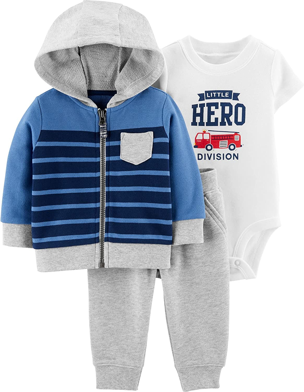 Boys 3-Piece Firetruck Little Hero Hoodie & Jogger Jacket Set Blue and Gray, Size 3 Months