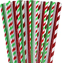 Cooraby 200 Pieces Christmas Foil Paper Straws Red Green White Stripe and Solid Biodegradable Drinking Paper Straws for We...