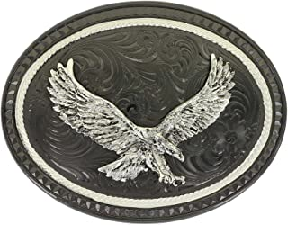 Silver Lining Gunmetal Oval Buckle with Soaring Eagle Figure (36010SB-597)