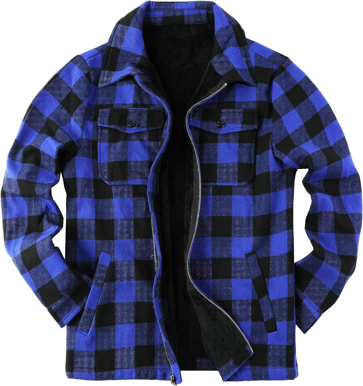 Chaqueta de tela escocesa para hombre, chaqueta de sherpa a cuadros de forro polar forrado de franela abrigo de manga larga con cremallera casual de ...