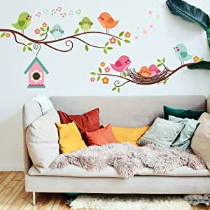 Bird and Tree Branch Wall Stickers, Cute Cartoon Woodland Wall Decal Bird Singing Small House Nest Sticker DIY Decorations for Kids Bedroom Nursery Wall Living Room