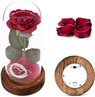 Beauty and The Beast Rose Kit, Red Silk Rose and Led Light with Fallen Petals in Glass Dome on Wooden Base for Home Decor Holiday Party Wedding Anniversary