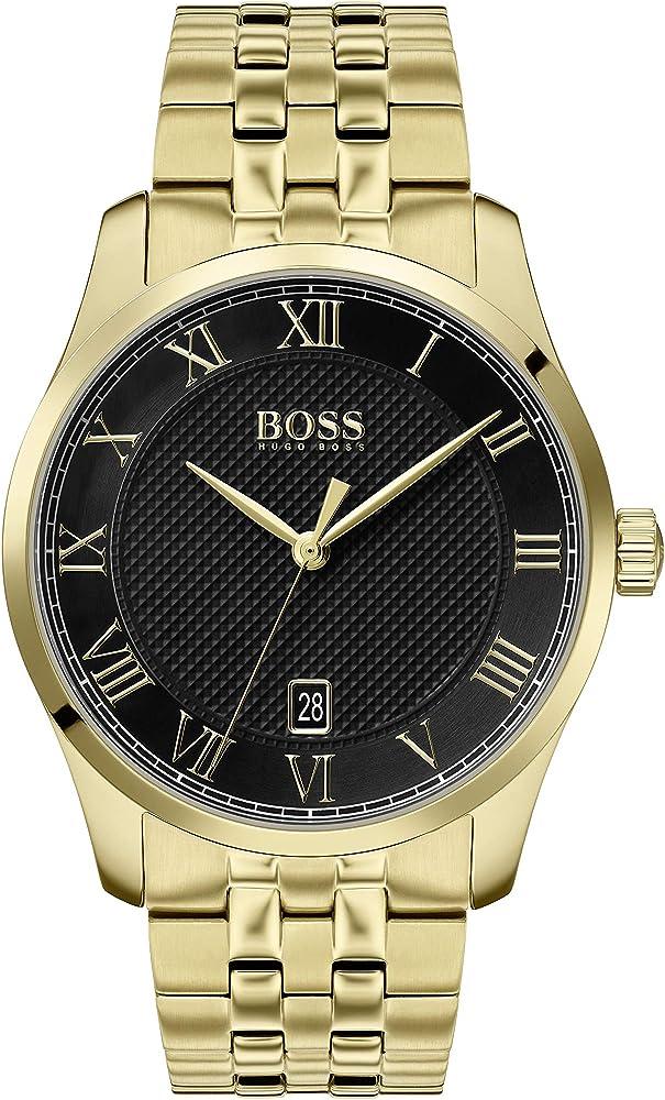 Hugo boss, orologio per uomo,in acciaio inossidabile placcato oro 1513739