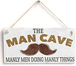 Meijiafei 'Man Cave Manly Men Doing Manly Things' Gift for Man/Boys Room Door Sign/Plaque 10