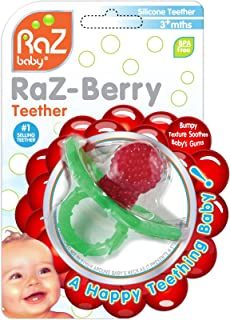 RaZbaby RaZ-Berry Silicone Teether/Multi-Texture Design/Hands Free Design/Red
