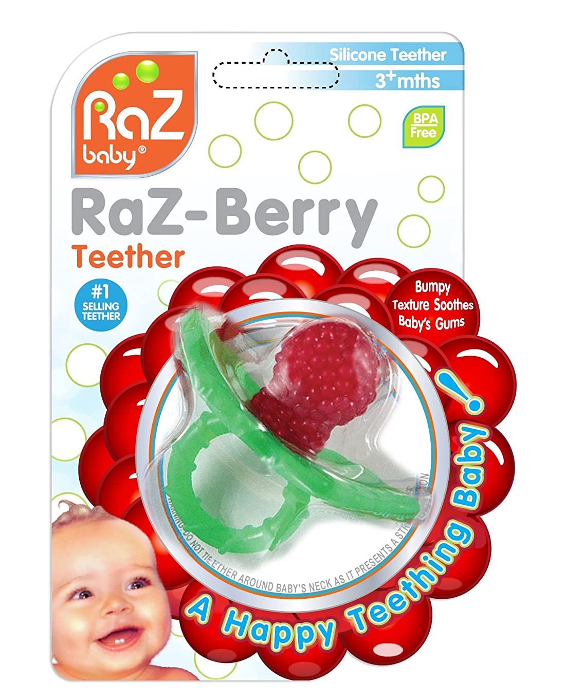 RaZbaby RaZ-Berry Silicone Teether/Multi-Texture Design/Hands Free Design/Red l09964179
