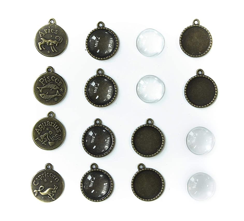 ALL in ONE 12Sets Zodiac Sign Cabochon Frame Setting Tray Pendant with Clear Glass Dome for DIY Jewelry Making