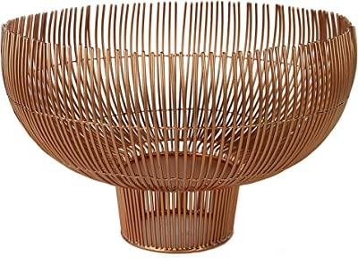 Benjara Metal Bowl with Open Wire Design, Gold