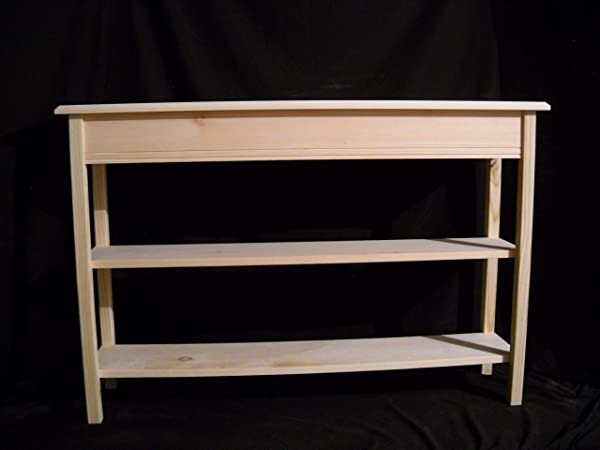 Unfinished 46 Console Sofa Wall Entryway 11 Deep Beveled Edge Pine Table W Shelves 2