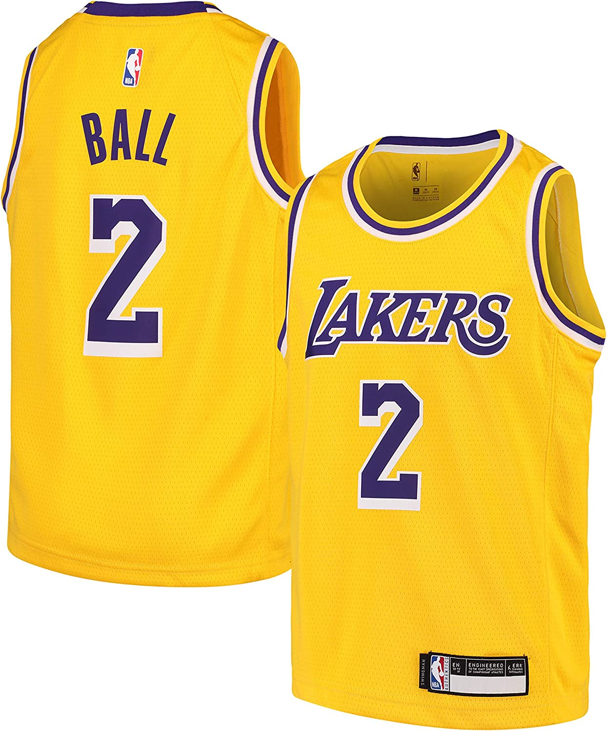 Lonzo Ball Los Angeles Lakers #2 Youth Gold Home Swingman Jersey