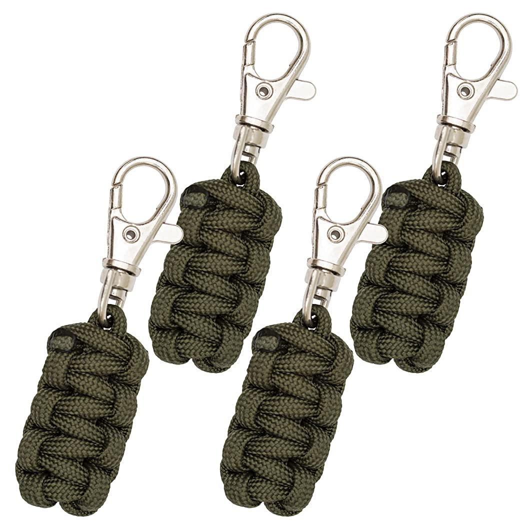 Monkey Armor Paracord Zipper Pulls 4 Pack - Variety of Colors | Metal Hook Thin Enough to Attach to Almost Any Zipper