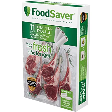 "FoodSaver - Rollo de sellado térmico, Sello de calor, Transparente, 11"" Roll 3 Pack, 1"