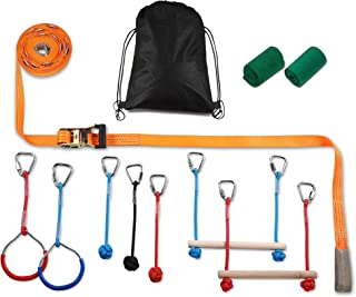 PACKGOUT Slackline, 45' Obstacles Course for Kids Warrior Training Equipment Swing Hanging Monkey Bar Kits, Gifts for Boys and Girls Included Carrying Bag and Tree Protectors