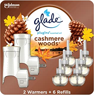 Glade PlugIns Refills Air Freshener Starter Kit, Scented Oil for Home and Bathroom, Cashmere Woods, 4.02 Fl Oz, 2 Warmers ...