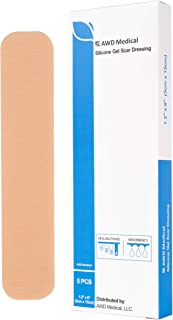 """AWD Medical Silicone Scar Removal Sheets - Scar Treatment for C-section, Surgery, Burn, Keloid, Acne and more, Made of Medical Grade Soft Silicone Material, Box of 5 Silicone Sheets (1.2"""" x 6"""")"""